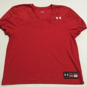 Under Armour Red Mesh Football Jersey Mens L
